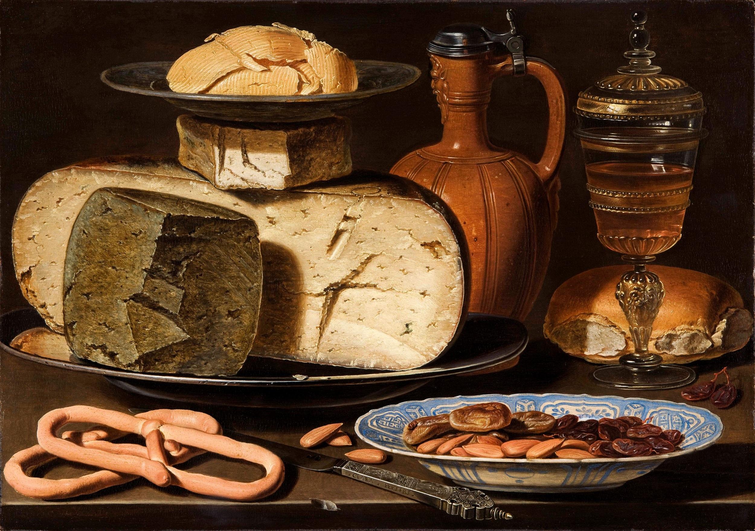 Clara Peeters, Stilleven met kazen, brood en drinkgerei, c.1615