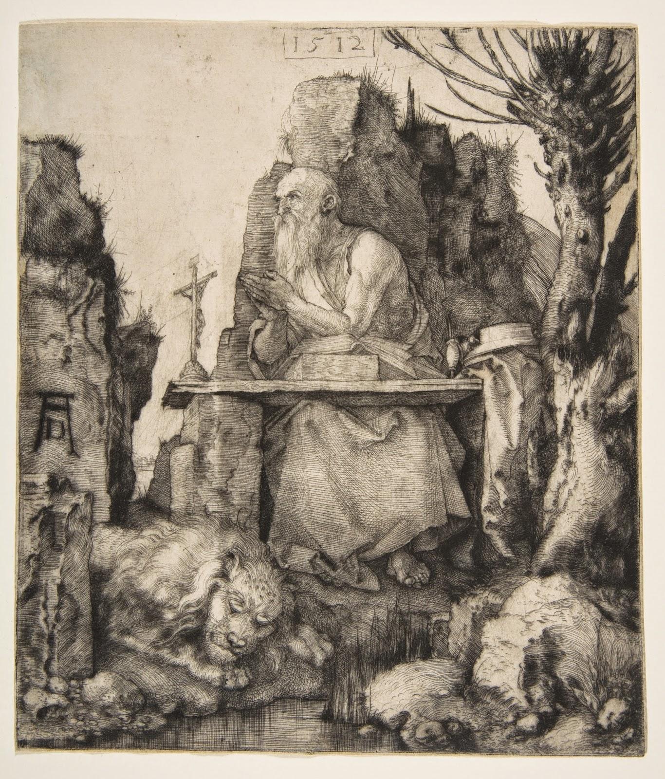 Durer 1512 Saint Jerome pres d'un saule etete