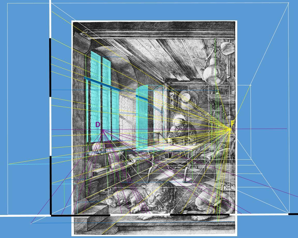 Durer 1514 Saint Jerome dans son etude perpective trace