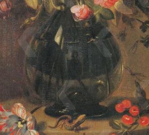 Jacob Marrel Flowers in a glass vase, with a lizards, cherries and a tulip, on a stone pedestal, ca. 1650 Schlangenbad, Kunstgalerie Hohenbuchau detail