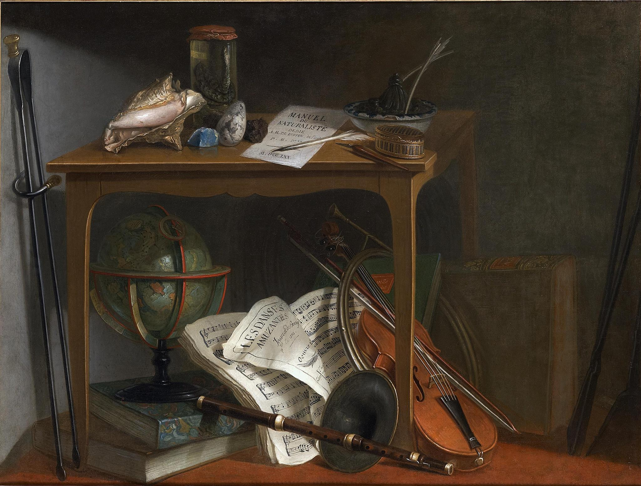 Jeaurat de Bertry, Nicolas Henry 1775 Devants-de Cheminee Naturalist Manual And Objects Resting On A Table coll privee