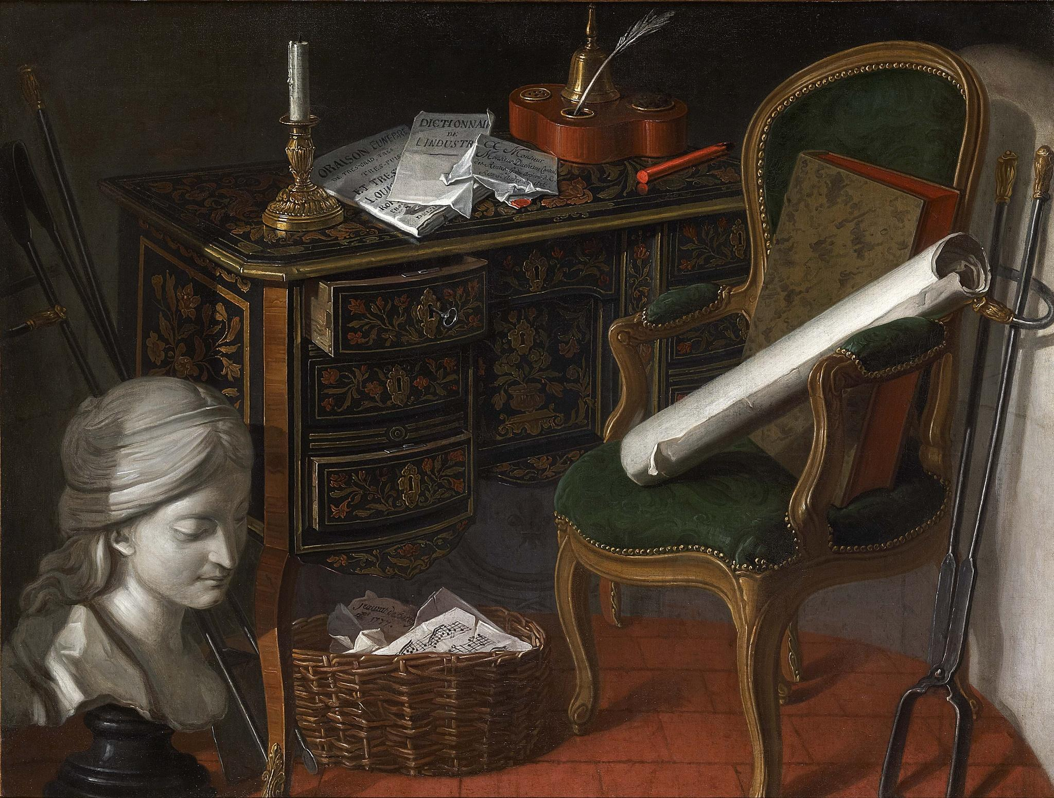 Jeaurat de Bertry, Nicolas Henry 1777 Devants-de Cheminee A Writing Desk coll privee