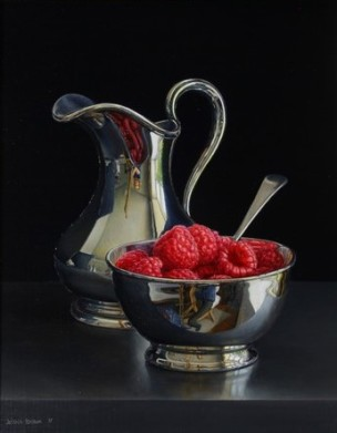 Jessica Brown Still Life with Raspberries in a Silver Bowl and a Silver Jug