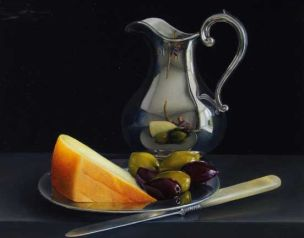 Jessica Brown,Tromp-l'oeil still life with Silver Jug, Sardinian Cheese and Olives