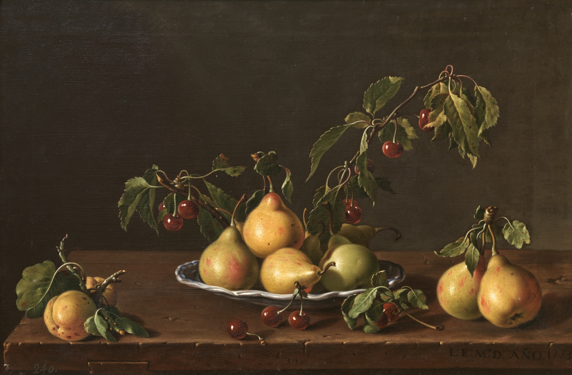 Melendez 1773 Bodegon con plato de peras y guindas Prado