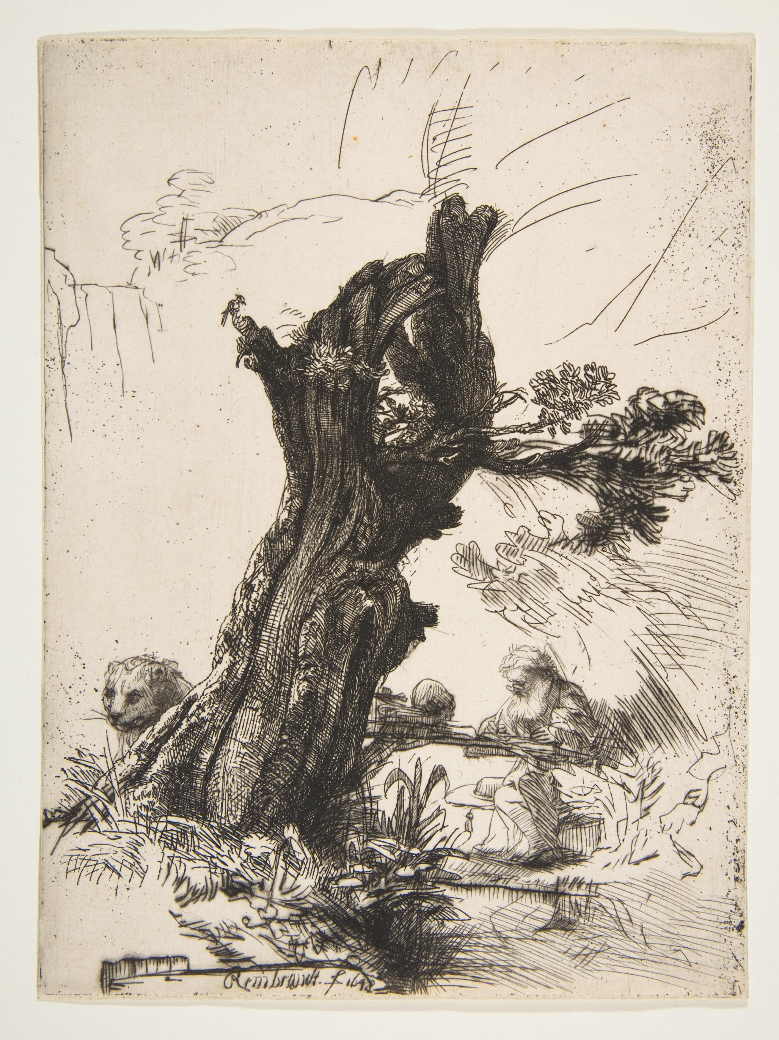 Rembrandt Saint Jerome Beside a Pollard Willow 1648