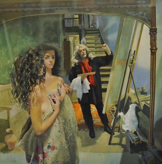 Robert Lenkiewicz 1994 Reflections, Painter with Anna,