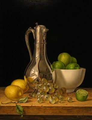 Roy HODRIEN - Silver Flagon with Lemons and Limes · Still Life