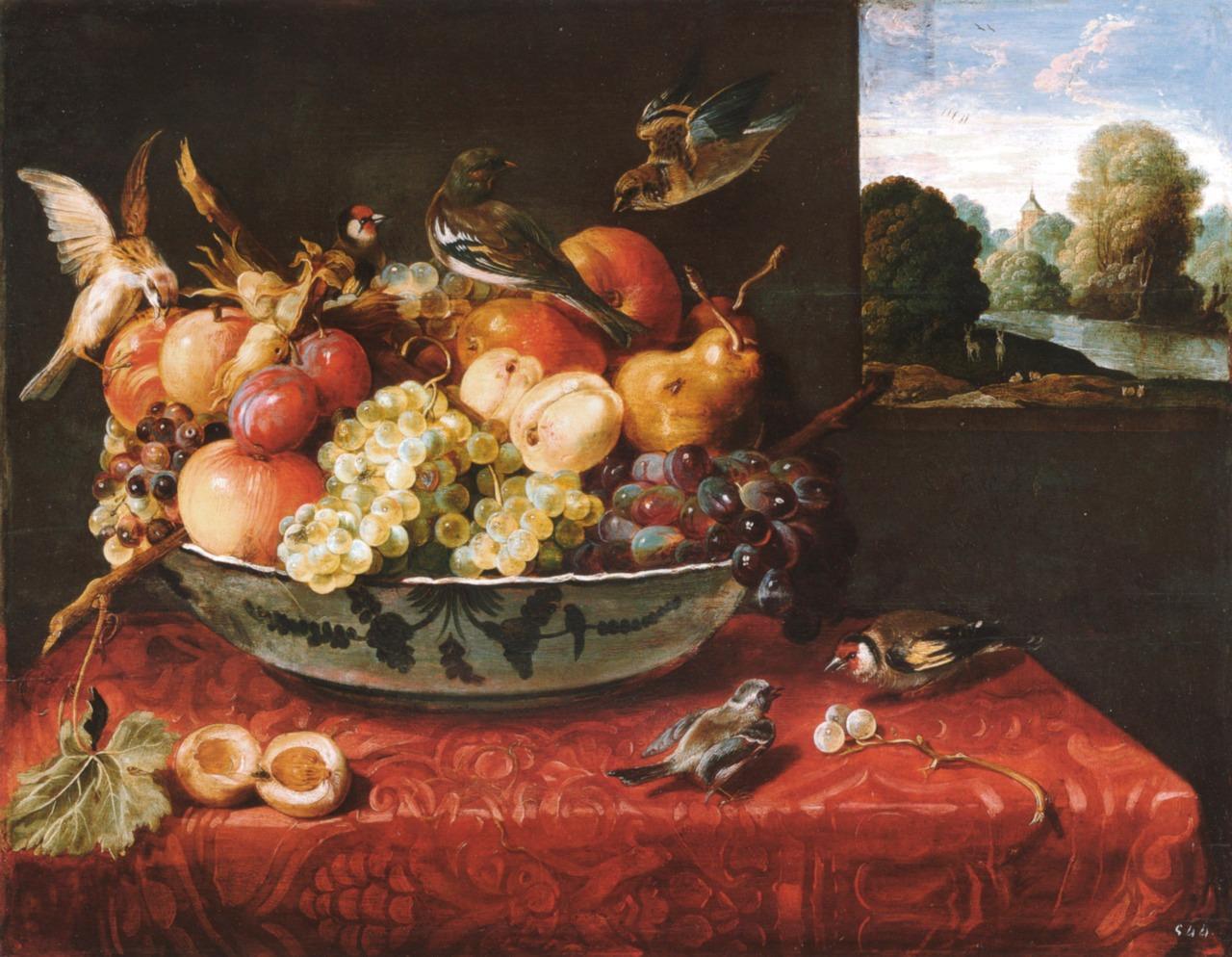 Van der Hamen 1621 Nature morte avec fruits et oiseaux Escorial Madrid 56 x 74