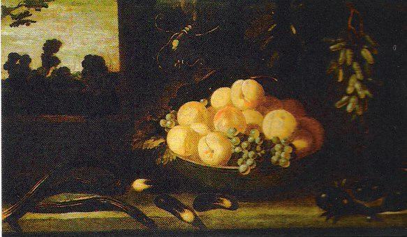 Van der Hamen 1623 Bol chinois avec peches et raisins paysage d'ete