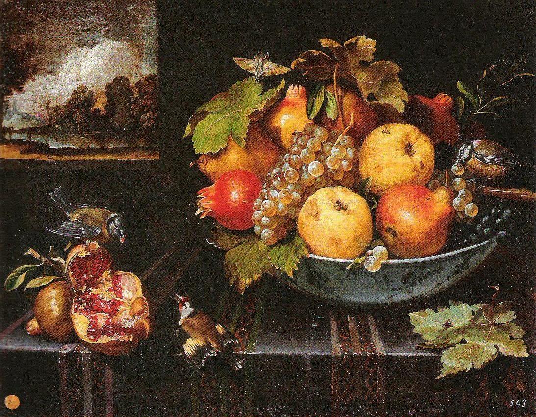 Van der Hamen 1623 Nature morte avec fruits et oiseaux Escorial Madrid