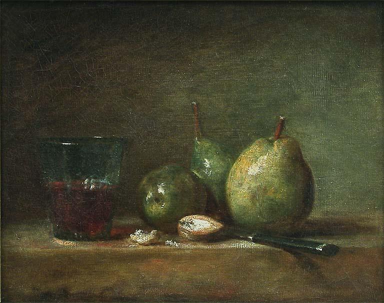 chardin 1768 Poires, noix et verre de vin Louvre