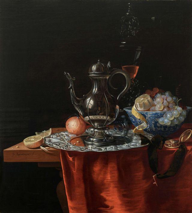johannes rosenhagen Nature morte a la coupe wan Li, au verre vanitien, aux fruits et agrumes, et à l'aiguiere refletant l'autoportrait du peintre vers 1660 Coll privee