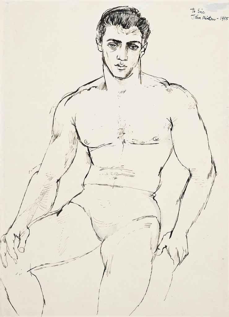 john_minton_young_man_seated_Norman Bowler 1955