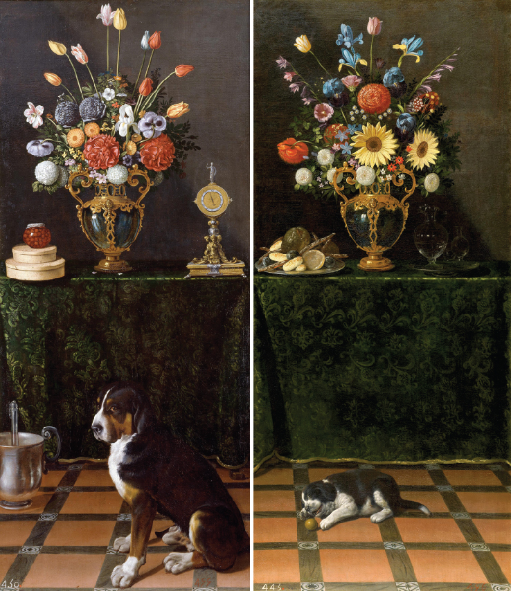 van der hamen Still-lifes with vases of flowers and a dog (left) and a puppy (right), c. 1625 Museo del Prado, Madrid