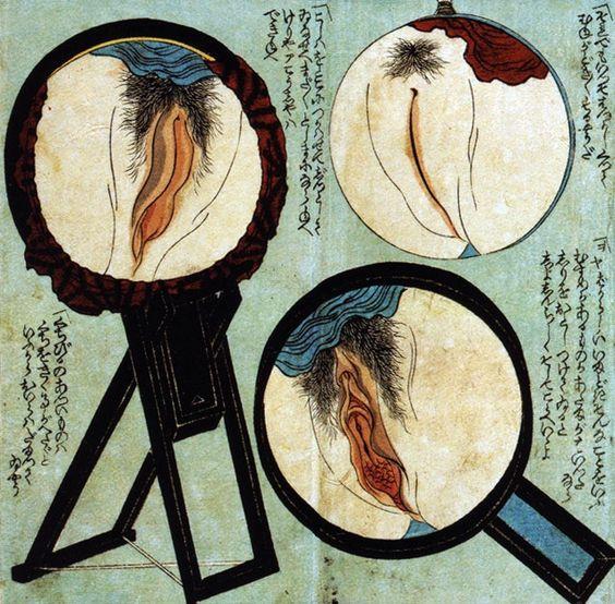 Trois vulves examinees dans un miroir Estampe japonaise vers 1850