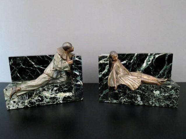 serre-livres HF-art-deco-pierrot et colombine-par-fontinelle