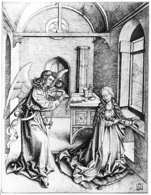 Annonciation Dessin d'aprs Martin Schongauer vers 1490 szepmuveszeti. museum budapest