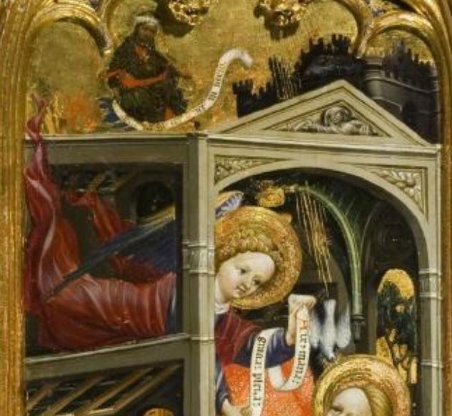 Annonciation Marzal de Sas 1393-1410 Saragosse Musee provincial detail