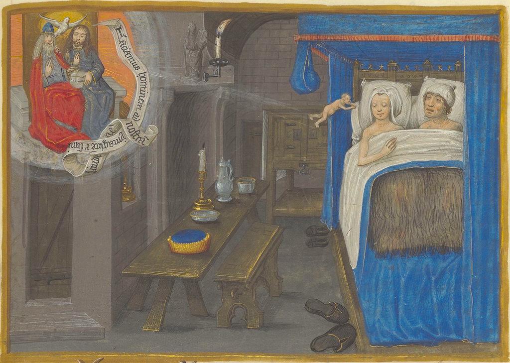 Les parents, la Trinite et l infusion de l ame lors de la conception de lenfant, in Mansel. Vie de Jésus Christ. Paris, Bibliotheque de l'Arsenal, ms. 5206, f.174. XV s