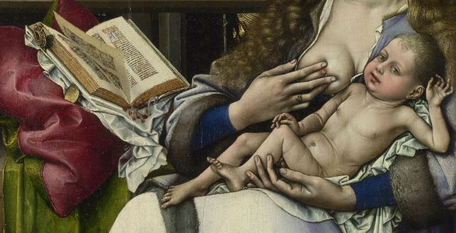 Robert_Campin_-_The_Virgin_and_Child_before_a_Firescreen_(National_Gallery_London) detail livre
