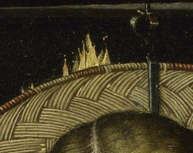 Robert_Campin_-_The_Virgin_and_Child_before_a_Firescreen_(National_Gallery_London) detail parefeu