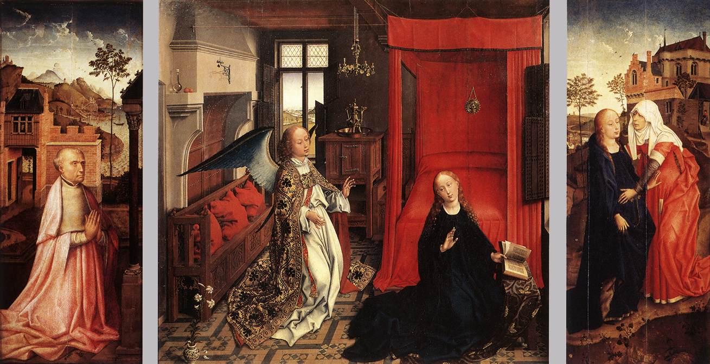 Rogier_van_der_Weyden_-_Annunciation_Triptych_-_WGA25590 vers 1440 Louvre