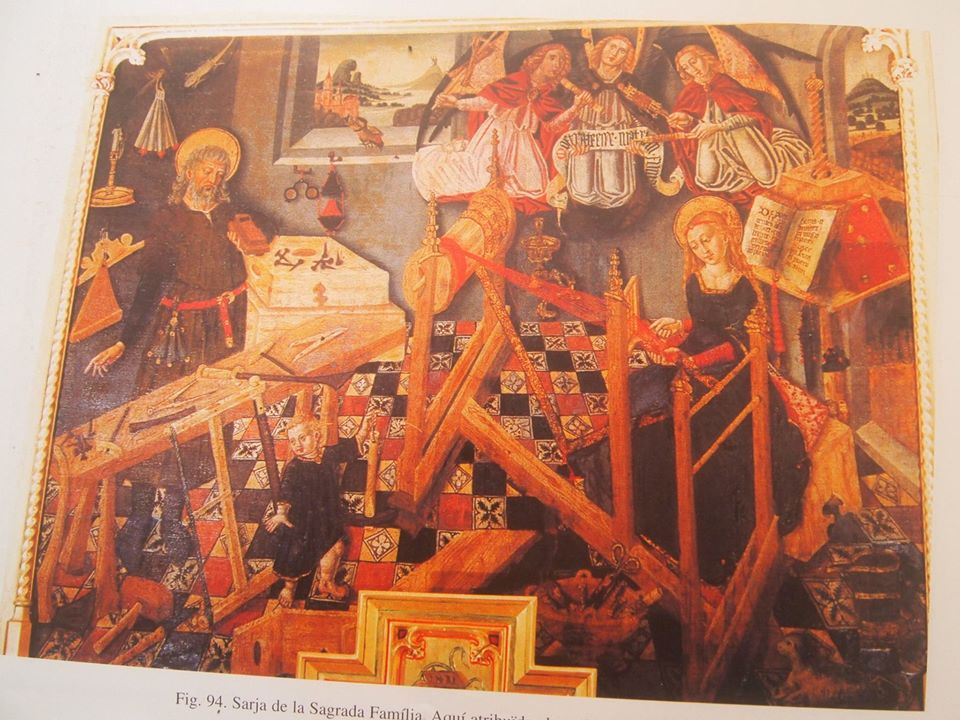 The Holy Family, Joseph surrounded by the tools of his trade, Mary at the loom. Painting by Martin Torner 1460-1480's palma de majorca coll Villalonga Planes