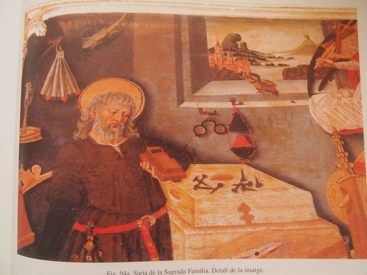 The Holy Family, Joseph surrounded by the tools of his trade, Mary at the loom. Painting by Martin Torner Pere Terrencs 1460-1480's detail