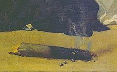 Velazquez 1632 Musee d'Oriola Tentation de Saint Thomas d'Aquin detail tison