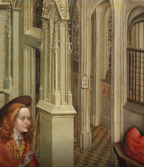 Annonciation Prado detail porte ange