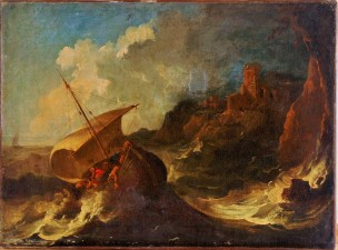 Jesus calmant la tempete attr à Poussin coll F.Gasc