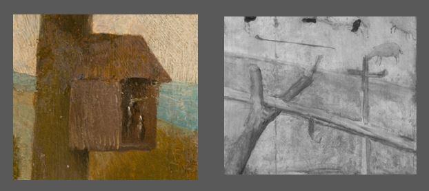 Bosch Le colporteur 1490-1510 Museum Boijmans Van Beuningen Rotterdam detail croix