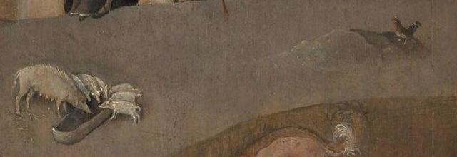 Bosch Le colporteur 1490-1510 Museum Boijmans Van Beuningen Rotterdam detail truie coq