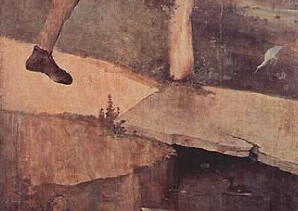 Bosch Triptyque du chariot de foin (exterieur), vers 1516, Prado detail pont