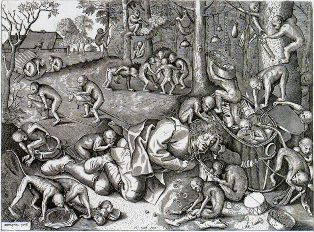 Colporteur vole par des singes Pieter van der Heyden d apres Pieter Bruegel 1562
