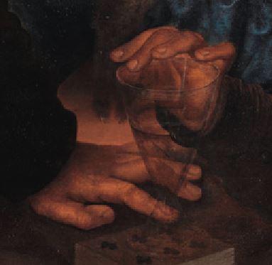 Jan_Sanders_van_Hemessen Joyeuse compagnie Staatliche Kunsthalle Karlsruhe 1545-1550 detail verre