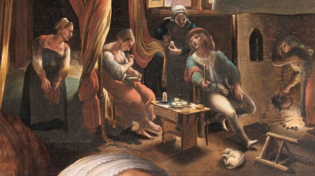 Jan_Sanders_van_Hemessen Joyeuse compagnie Staatliche Kunsthalle Karlsruhe 1545-1550 enfant prodique