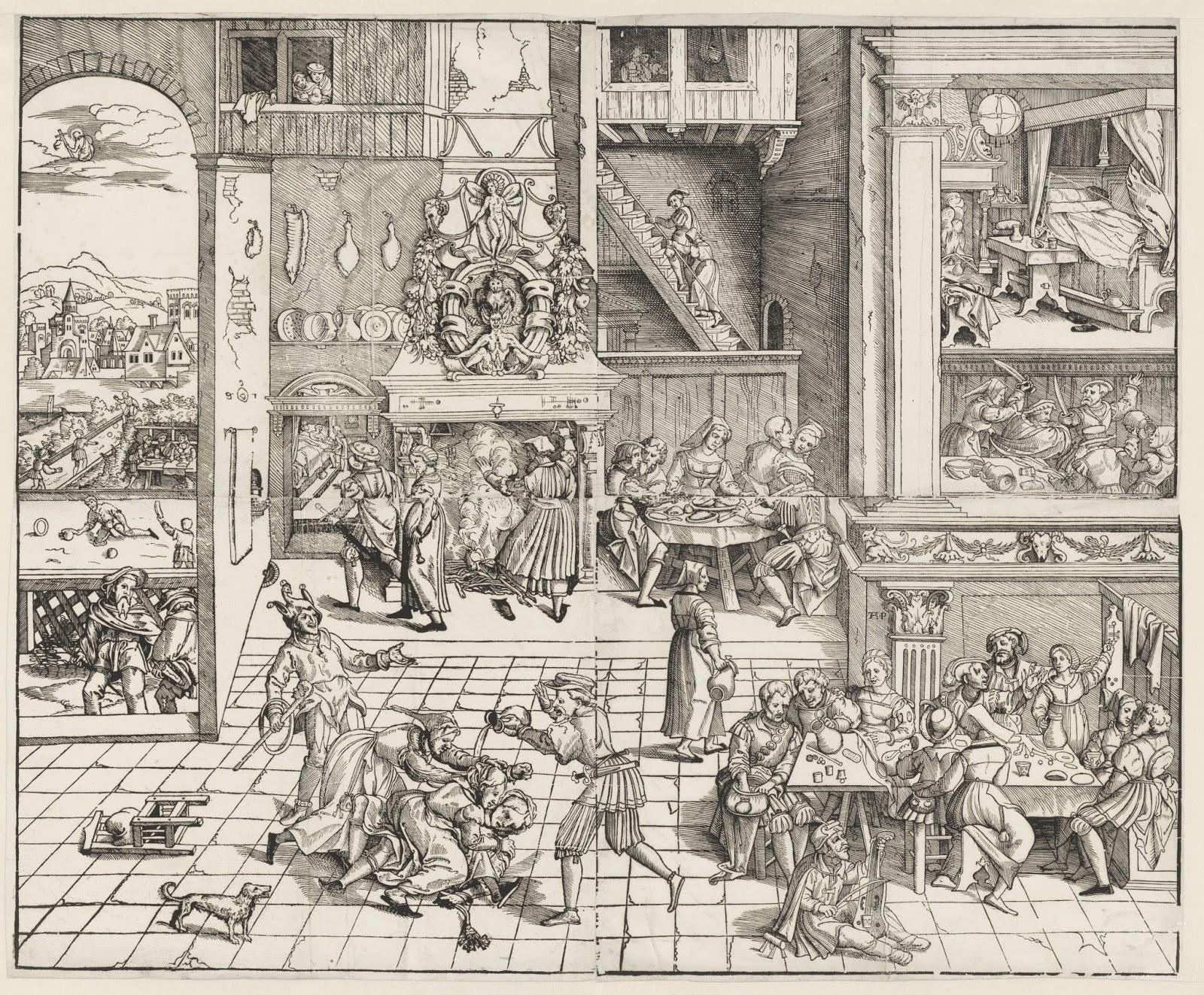 Monogrammist AP_Interieur met verschillende gezelschappen aan tafels (1540) Rijksmuseum, Amsterdam