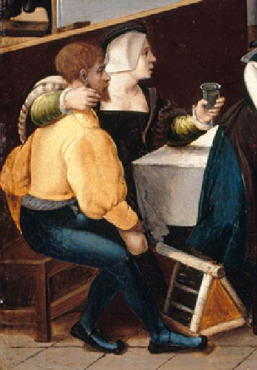 Monogrammiste de Brunswick Brothel Scene with Quarrelling Prostitutes vers1530 Gemaldegalerie, Berlin detail couple