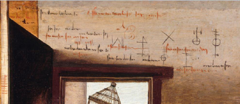 Monogrammiste de Brunswick Brothel Scene with Quarrelling Prostitutes vers1530 Gemaldegalerie, Berlin detail graffitis