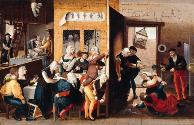 Monogrammiste de Brunswick Brothel Scene with Quarrelling Prostitutes vers1530 Gemaldegalerie, Berlin