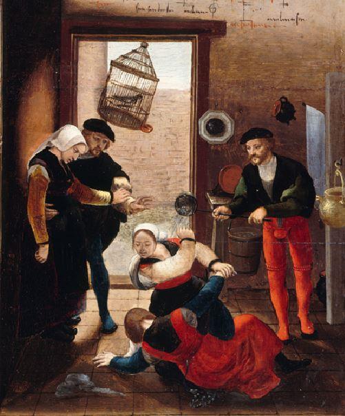 Monogrammiste de Brunswick Brothel Scene with Quarrelling Prostitutes vers1530 Gemaldegalerie, Berlin partie droite