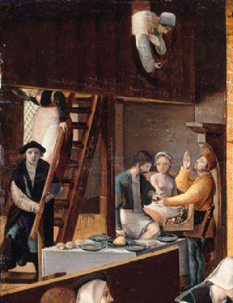 Monogrammiste de Brunswick Brothel Scene with Quarrelling Prostitutes vers1530 Gemaldegalerie, Berlin partie gauche