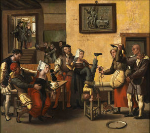 Monogrammiste de Brunswick_An_Inn_with_Acrobats_and_a_Bagpipe_Player National Gallery