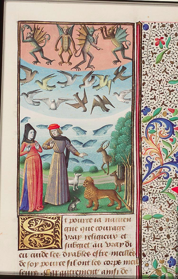 Plato's four elements arranged in a symmetrical order La cite de Dieu, manuscrit francais, 1475-1480. Fol. 435v of the Hague MMW, 10 A 11, National Library of the Netherlands