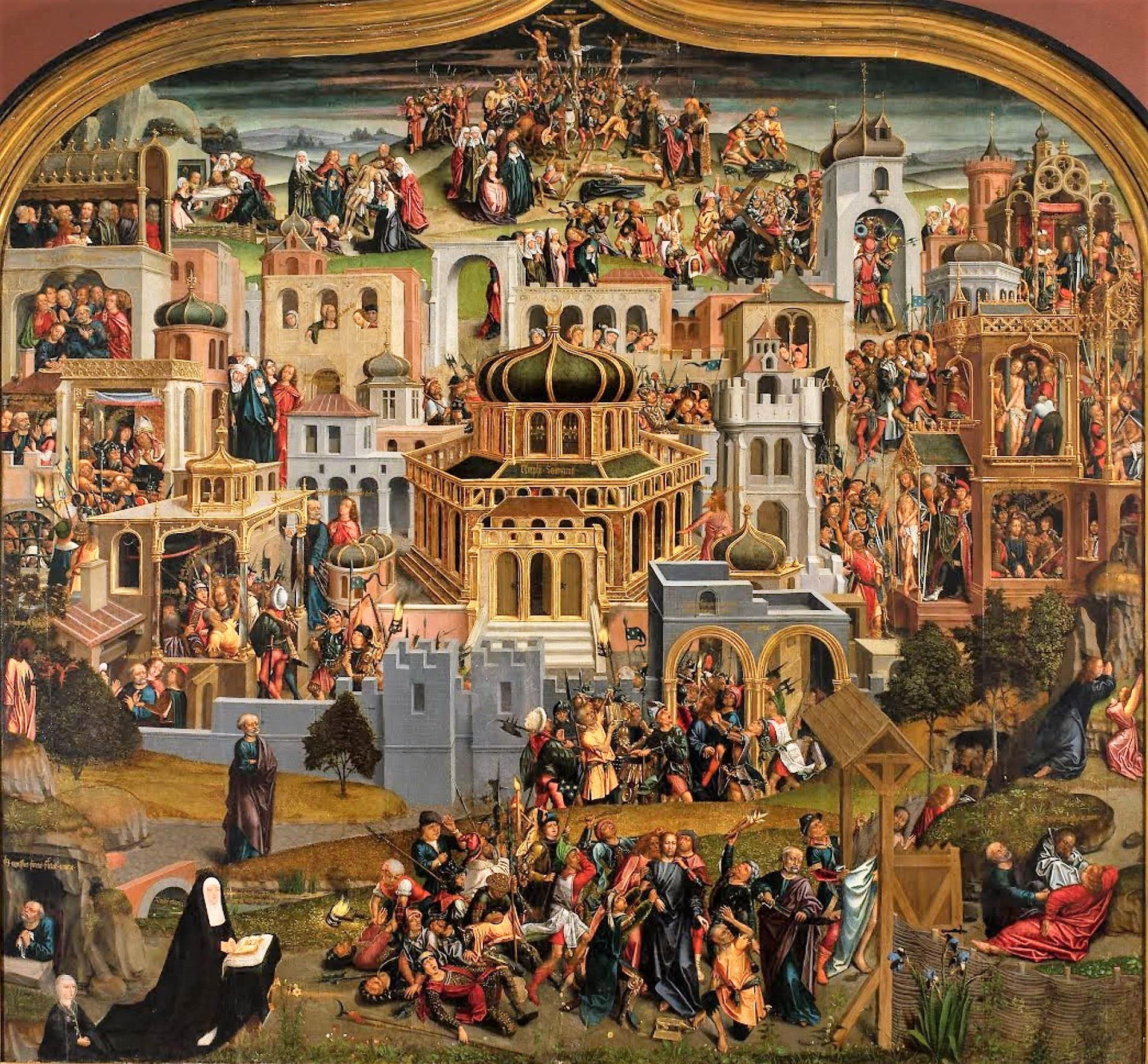 Dona Leonor's Jerusalem Altarpiece, ver 1495-97 Museu Nacional dos Azulejos, Lisbon