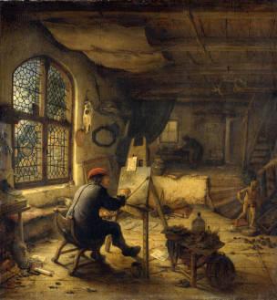 Gabriel van Ostade 1663 Le peintre dans son atelier Gemaldegalerie Alte Meister Dresde