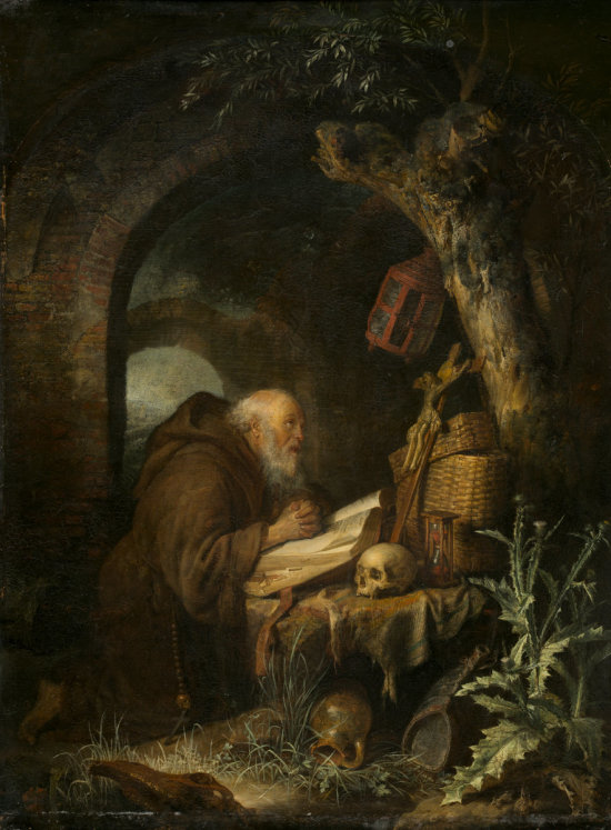 Gerrit Dou (Dutch, 1613 - 1675), The Hermit, 1670