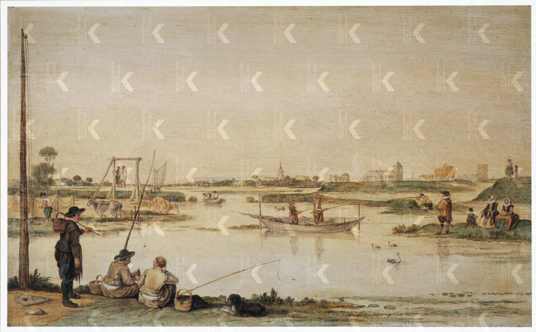 Hendrick Avercamp Rivierlandschap bij Kampen met vissers en een 1620-25 Fondation Custodia, Paris